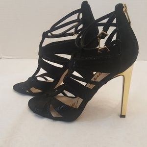 Sam Edelman Black Back Zip Gold Heels (6.5 us/37)